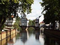 The old bridge over the Nahe. Kreuznach, Germany 2014 Royalty Free Stock Photo