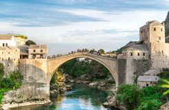 Old bridge over Neretva river in sunset, Mostar, Bosnia and Herzegovina Stock Photography