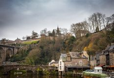 Old bridge over a river, Rance River, Dinan, Cotes-D'Armor, Brit royalty free stock image