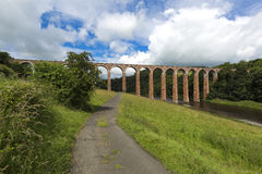 Old bridge over river Tweed looking upriver near Melrose at Leaderfoot towards Gattonside. Stock Photo