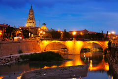 Old bridge over Segura  in evening. Murcia Stock Photos