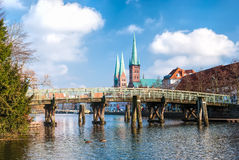 The old Bridge over Trave River, Lübeck Stock Photo