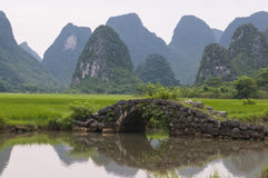 The old bridge and the paddy field Stock Photography