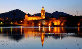Old bridge of Ponte de Lima by night Stock Images