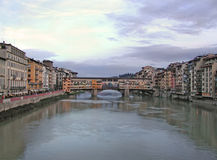 Old Bridge - Ponte vecchio - Florence - Italy. The Old Bridge (Ponte vecchio), the ancient middle age bridge on the river Arno in Florence, Italy, seen from Stock Image