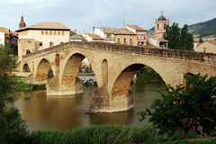 Old bridge Puente la Reina. Old bridge in the city Puente la Reina stock image