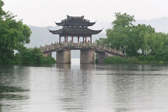 Old bridge and rain of chinese west lake Royalty Free Stock Images