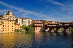 Old bridge and river. Old bridge and Brenta river in Bassano del Grappa, Veneto, Italy Stock Photos