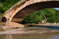 Old bridge. And river in Caucasus, Adygea, south of Russia Stock Image