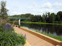 Bridge, plants and river Nemunas, Lithuania royalty free stock photography