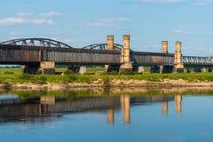 Old bridge on the river Vistula. Royalty Free Stock Images