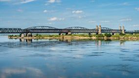 Old bridge on the river Vistula. Stock Images