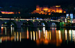 Old bridge and ruined castle in Heidelberg Stock Photos