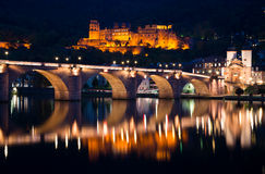 Old bridge and ruined castle in Heidelberg Royalty Free Stock Images