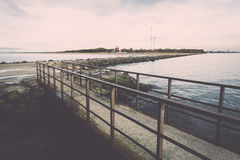 Old bridge with rusty metal rails Royalty Free Stock Photos