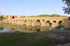 Old bridge. Shahrestan Bridge in Isfahan, Iran stock image