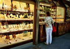 Old bridge shops in Florence, Italy Royalty Free Stock Photography