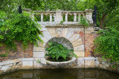 Old bridge at side of pond of Vajdahunyad Castle in Budapest, Hungary royalty free stock photos
