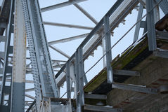 Old bridge steel structure close-up Stock Photos