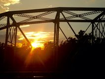 Old bridge. Sun set hill country Stock Photography