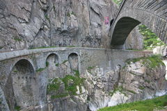 Old bridge in Swiss Alps Royalty Free Stock Image