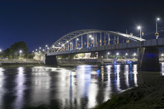 Old bridge in Szeged at night Royalty Free Stock Photography