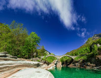 Old bridge in tessin royalty free stock photos