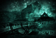 Old Bridge to the wooden house in the mountains vector illustration