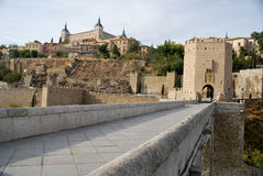 On the old bridge of Toledo royalty free stock images