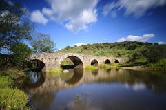 Old Bridge in Torrejon El Rubio in Caceres. Royalty Free Stock Photography