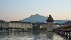 Old Bridge and Tower in Lucerne center Switzerland Royalty Free Stock Photography
