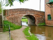Old bridge with towpath. On the Shropshire Union canal in Market Drayton, England Royalty Free Stock Photos