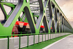 Old bridge with tram in Bratislava, new built version Stock Images
