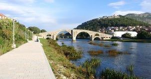 Old bridge in Trebinje, architecture travel stock video