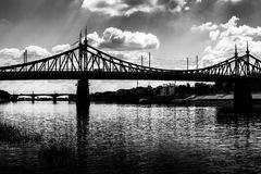 Old Bridge in Tver city, Russia. Volga River, black and white photo Royalty Free Stock Images
