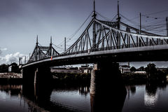 Old Bridge in Tver city, Russia. Volga River. Bnw photo Royalty Free Stock Photography