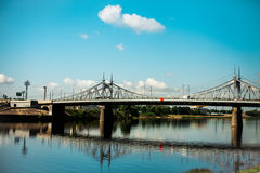 Old Bridge in Tver city, Russia. Volga River, sunny day Stock Image