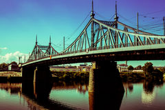 Old Bridge in Tver city, Russia. Volga River Stock Photos