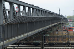 Old bridge in Ulm, Germany. Bridge over railway tracks made of steel Royalty Free Stock Image