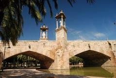 Old bridge in Valencia stock image