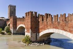 Old bridge in Verona. Over Adige river - Ponte Castelvecchio Royalty Free Stock Images