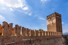 Old bridge in Verona over the Adige river - Castelvecchio Stock Photography