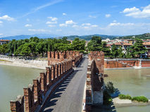 Old bridge in Verona over Adige river Stock Image