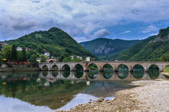 Old bridge Visegrad, Bosnia and Herzegovina. Famous bridge in Visegrad, on river Drina, Bosnia and Herzegovina Royalty Free Stock Photography