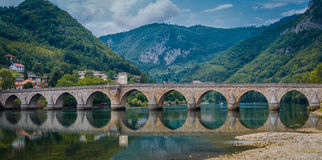 Old bridge Visegrad, Bosnia and Herzegovina. Famous bridge in Visegrad, on river Drina, Bosnia and Herzegovina Royalty Free Stock Images