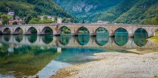 Old bridge Visegrad, Bosnia and Herzegovina. Famous bridge in Visegrad, on river Drina, Bosnia and Herzegovina Royalty Free Stock Image