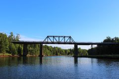 An old bridge on the Wallace river in Nova Scotia on a summer evening Stock Image