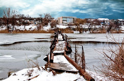 Old bridge in winter Stock Photos
