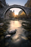 Old bridge. In Zagori Village Stock Photos