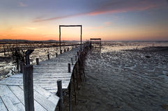 Old bridges. Night falling in Carrasqueira, Portugal royalty free stock image